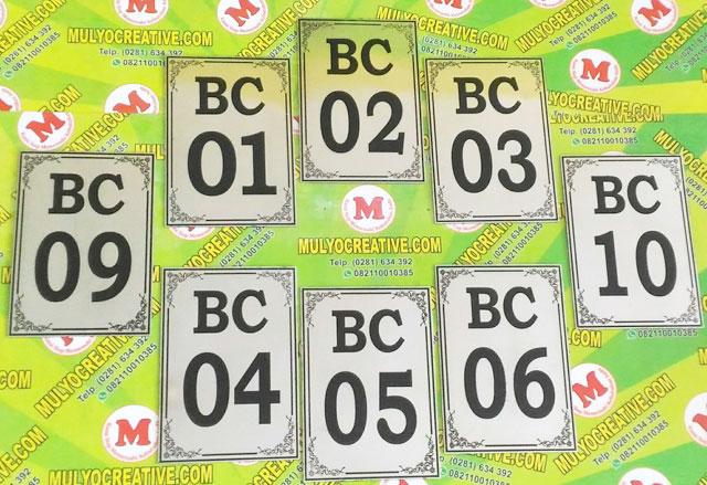 Papan Nama Ruangan, Papan Nomor Ruangan Kamar BC