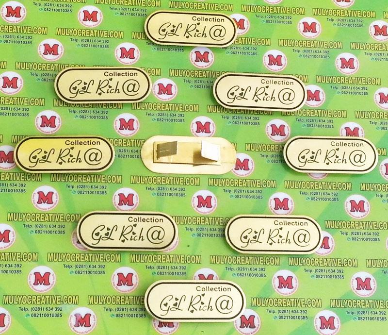 Label Brand Tas GL Rich bahan: logam kuningan warna: hitam