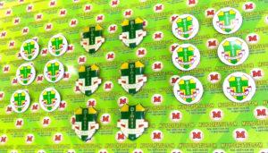 Pin Logo Pemuda Katolik dilapisi resin lycal membuat teerlihat timbul dan bening, serta menggunakan bahan dasar logam stainless,