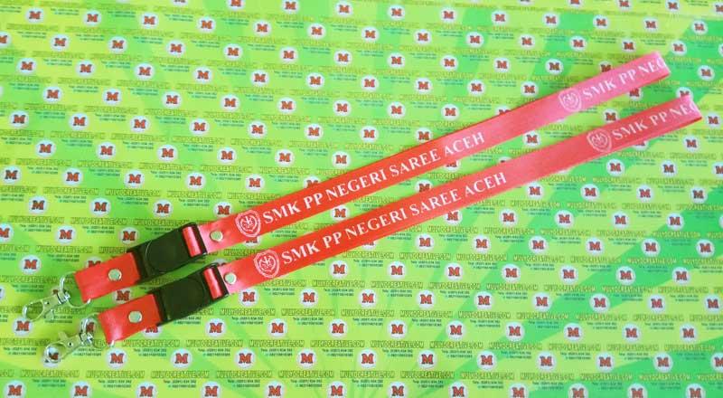 """Contoh Tali Lanyard/ Tali ID Card dengan Logo dan Nama Sekolah (keseluruhan) """"SMK Negeri PP Saree Aceh"""""""